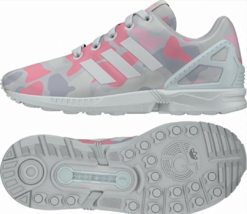 adidas ZX Flux Junior Girl Boys Trainers White Grey Pink AQ0686 New Boxed